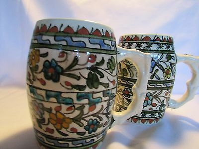 Vintage Hand Painted MOROCCAN Set of 2 Two Glazed Earthenware Mugs Tankards