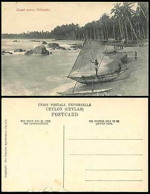 Ceylon Old Postcard Coast Scene Katamaran Fishing Boat Colombo Seaside Sea Shore
