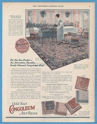 1924 1924 Congoleum Gold Seal Rugs Flooring 1920s Sun Parlor Decor Art Ad