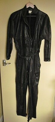 Black Leather Catsuit  - by Sharron Kidson - Made in England size 12 long