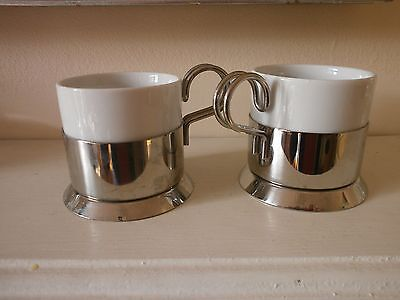 2 Menu espresso coffee cups white ceramic and stainless steel 6cms high