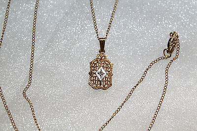 VICTORIAN Vintage 12K GOLD FILLED DIAMOND Filigree Pendant Chain NECKLACE