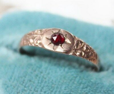 GEORGIAN Victorian ANTIQUE 9ct Rose GOLD GARNET ring 8 3/4