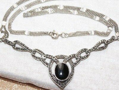 ART DECO vintage STERLING silver black onyx marcasite collar statement necklace