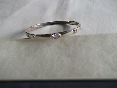 925 Sterling Silver Clear Cz Oval  Bangle