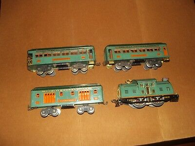 Rare Ives Peacock 10 & Orange Stripe Pass Set With Decaled Ives Paper Label Cars