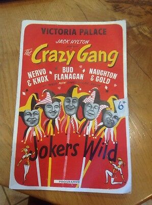 Victoria Palace Theatre The Crazy Gang Bud Flangan Jokers Wild  Programme