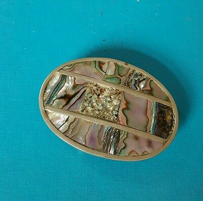 mexican silver .mother of pearl buckle