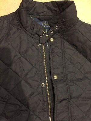 NEW POLO RALPH LAUREN MENS Large L BLACK  QUILTED VEST Plaid Lining COAT NWT