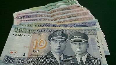Lithuania banknotes totalling 300 Litu. Sorry no overseas postage.