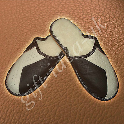 ***mens Gents Leather Comfortable Slippers Size Uk8=Eu42****