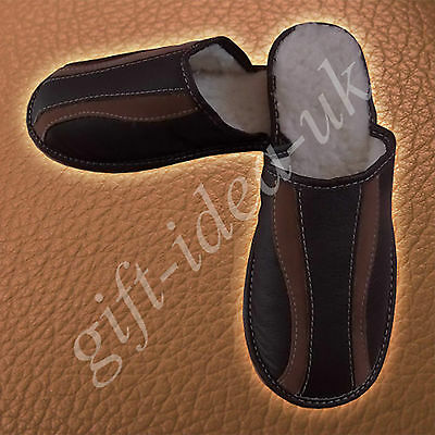 Mens Gents Leather Comfortable Slippers Size Uk8=Eu42