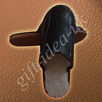 ++Mens Gents Leather Comfortable Slippers Size Uk12=Eu46++