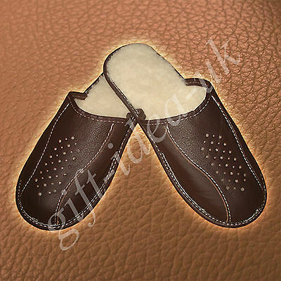 *mens Gents Leather Comfortable Slippers Size Uk10=Eu44*