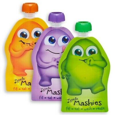 Little Mashies Reuseable Food Pouches 10 Pack mixed colours 130ml BPA Free