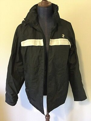 Izod Performx Men Black Gray Strip Lined Hooded Jacket Size M
