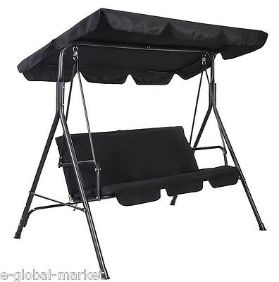 3 Seater Metal Swing Hammock Chair Bench Lounger Canopy Cushioned Patio BLACK