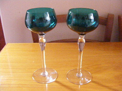 Vintage Green Topped Wine Glasses x 2