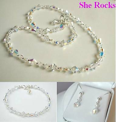 Designer Bridal Jewellery Set Ab Swarovski Crystal Elements Sterling Silver Gift
