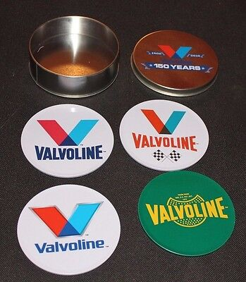 Valvoline motor oil set of four coasters in tin 150 year commemorative unused