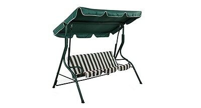 3 Seater Metal Swing Hammock Chair Bench Lounger Canopy Cushioned Patio Green
