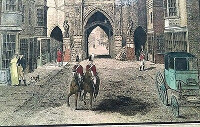 VERY CHARMING GEORGIAN HAND COLOURED ENGRAVING of a STREET SCENE in SOUTHAMPTON.