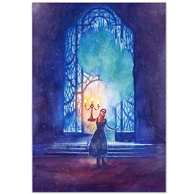 """ORIGINAL AQUARELL """"Be Our Guest"""" WATERCOLOR BELLE EMMA WATSON BEAUTY AND BEAST"""