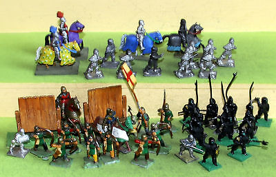 wargames figures minifigs 25mm medieval  infantry and cavalry