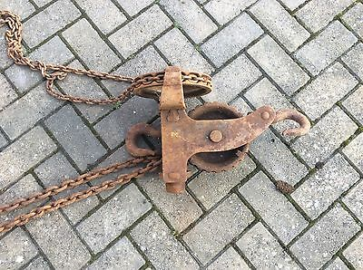 Vintage Engine Hoist  Ex British Rail Block And Tackle