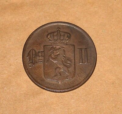 1875 Norway 5 Ore. First Year Type Coin with Low Mintage.
