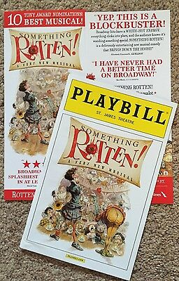 SOMETHING ROTTEN Playbill & Flyer BRIAN d'ARCY JAMES & CHRISTIAN BORLE Broadway
