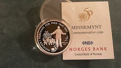 """Norway 1995 """"United Nations"""" Silver Proof  50 Krone Coin"""