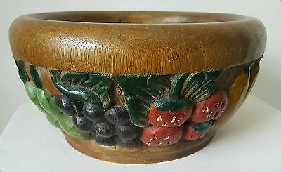Vintage solid carved wood fruit bowl, exotic fruits, relief carving, Mexico?