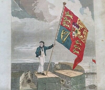 BOLD HAND COLOURED GEORGIAN ENGRAVING of a SAILOR WAVING the ROYAL STANDARD FLAG
