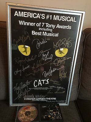 Cats Theatre Production Signed Poster With Frame AND  CATS CD APPROX 1996/7