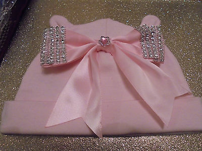 romany gypsy  baby GIRL pink  bling huge satin bow  hat  0-3mth diamonte