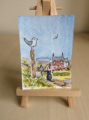 """Original Watercolour Painting ACEO 'Nice Day for a Walk '   3.5 x 2.5"""""""