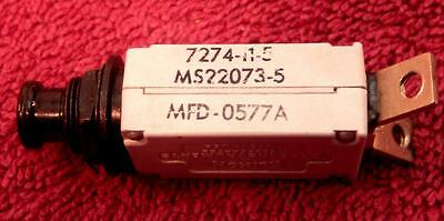Klixon Ms22073-5 5 Amp Aircraft Circuit Breaker Push Pull 7274-11-5