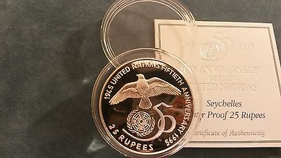 """Seychelles 1995 """"United Nations"""" Silver Proof 25 Rupees Coin"""