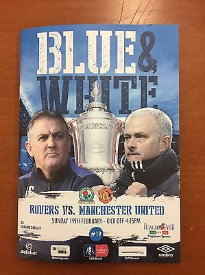 Blackburn Rovers V Manchester United Programme Fa Cup  19/02/2017 Mint Condition