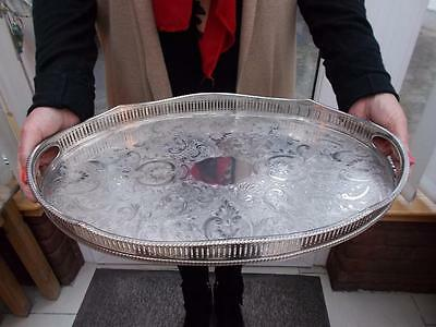 Large Silver Plated Gallery Tray  Downton Style
