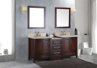"""NEW Double 72"""" Marble Bathroom Sink Vanity Solid Wood Cabinet Lavatory Furniture"""