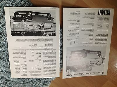 RELIANT KITTEN SALOON and ESTATE SPEC SHEET.   1974circa
