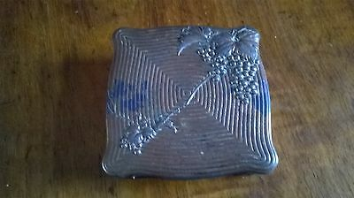 Antique Japanese ? Silk Lined  Copper Coated Spelter Stamp Box