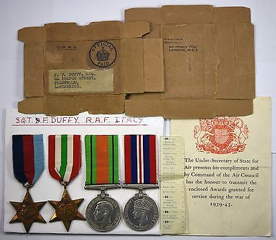 Four WW2 Medals 1939-45 Star, Italy Star, War Medal and Defence Medal RAF