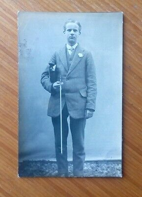 Vintage* Gentleman with a violin and bow.  K Ltd. in stamp box. ( Kodak ? ).