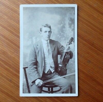 Vintage* Young Gentleman with a Violin and Bow. Irish (?) Early 1900's.