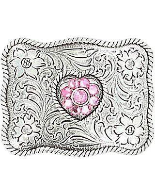 M and F Western Girls' Crystal Heart Belt Buckle Silver One Size