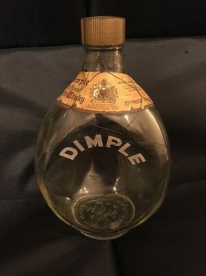 Vintage Old HAIG'S DIMPLE EMPTY SCOTCH WHISKY BOTTLE HAIG WITH NETTING SURROUND