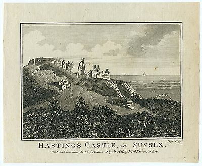 "ANTIQUE PRINT/ENGRAVING - ""HASTINGS CASTLE, in SUSSEX"""